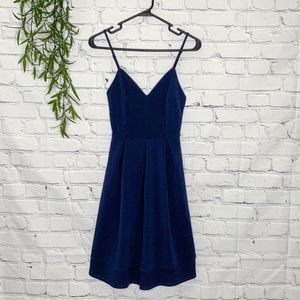 Fervour ModCloth fit and flare navy dress XS